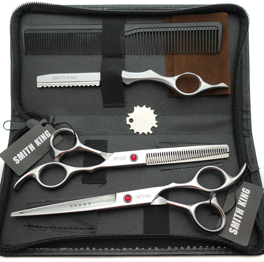 7.0 Inches Professional hair cutting thinning scissors set with razor (Silver)