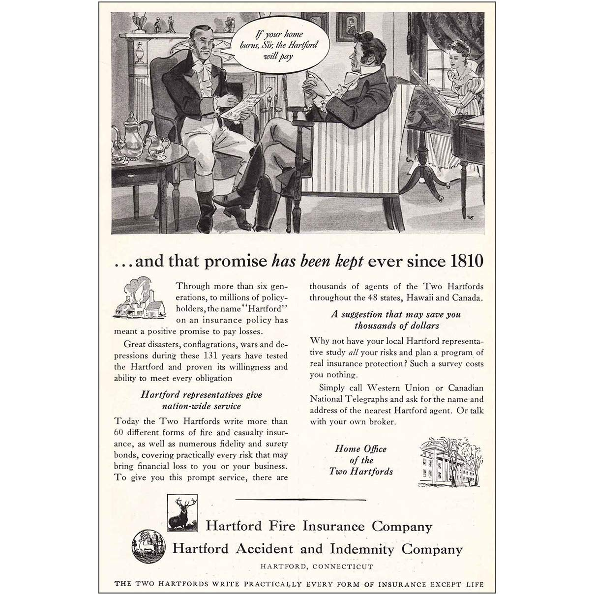 The Hartford Insurance Address >> Amazon Com Relicpaper 1941 Hartford Fire Insurance If Your