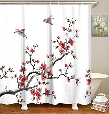 LIVILAN Red Floral Curtains Set With 12 Hooks Tree Branch Bathroom Curtain Anti Bacterial Fabric