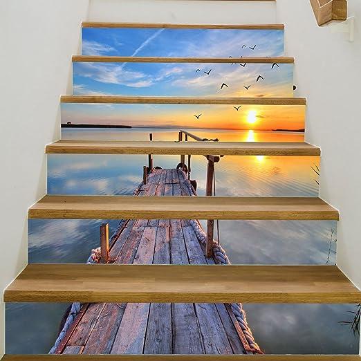 HomeARTS Escalera Pegatinas De Pared Calcomanías Extraíble Autoadhesiva Mar Escena PVC Escaleras Impermeables Papel Tapiz para Sala De Estar Decoración 6 Unids/Set: Amazon.es: Hogar