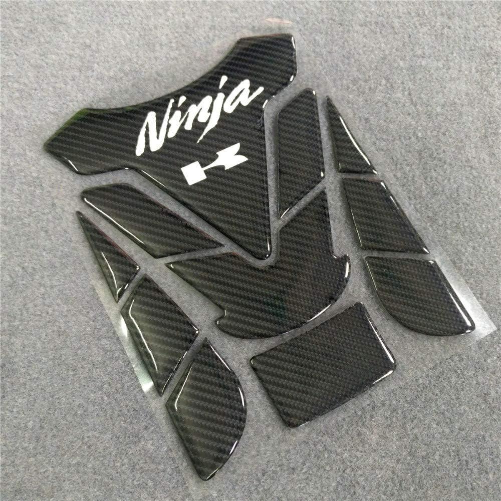LIWIN Motorradzubeh/ör 3D-Motorrad for Kawasaki Ninja 250 300 400 650 R Fuel Tank Pad Reflective Carbon-Faser-Knochen-Schwarz
