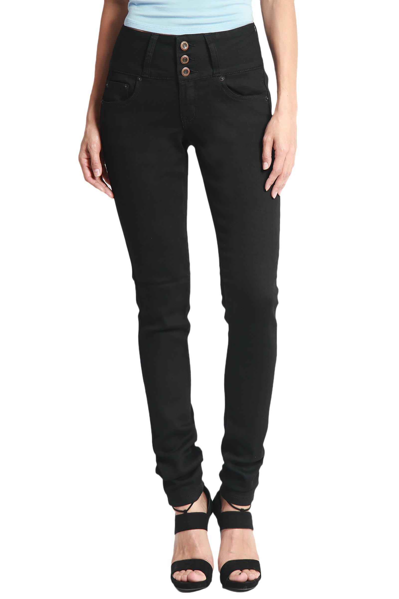 TheMogan Women's Hip Up Butt Lifting High Waist Denim Skinny Jeans Black 9