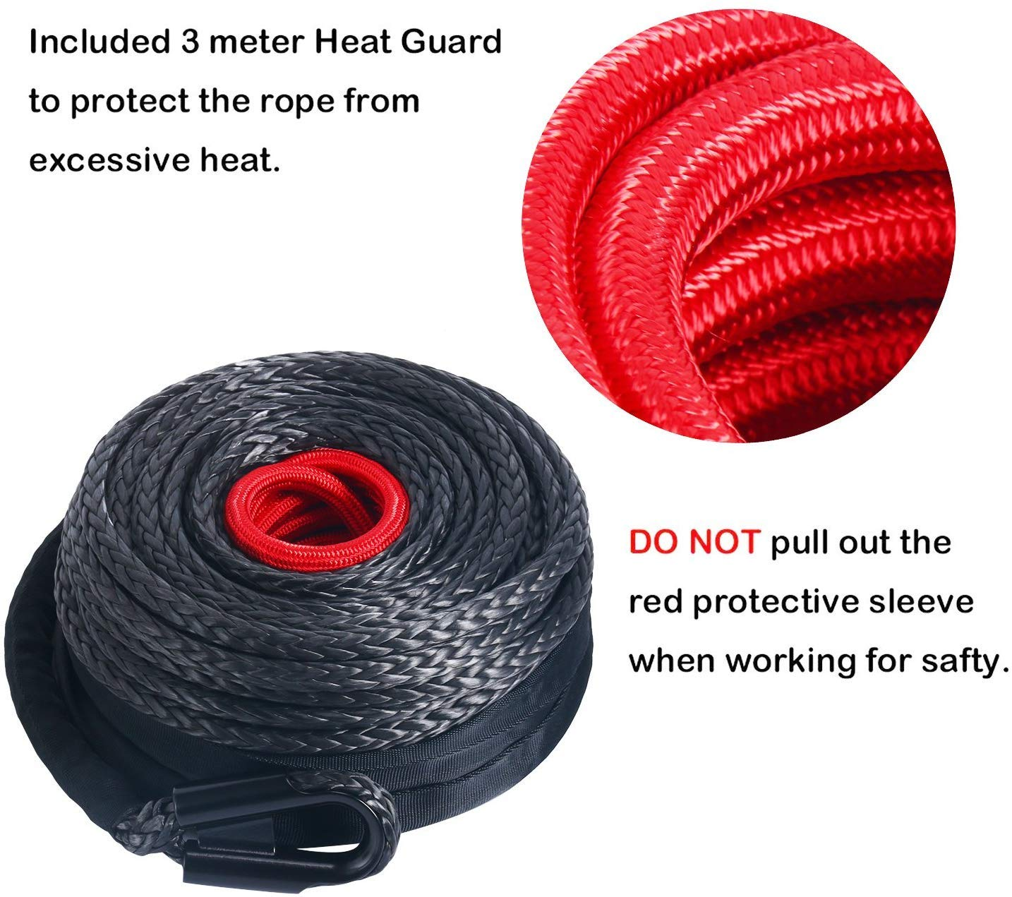 YaeKoo 92ft x 1//2 Inch Black Synthetic Winch Rope High Strength Polyethylene Fiber Material 22000LBs Protective Sleeve RED Hook Compatible with Jeep ATV UTV Truck Boat