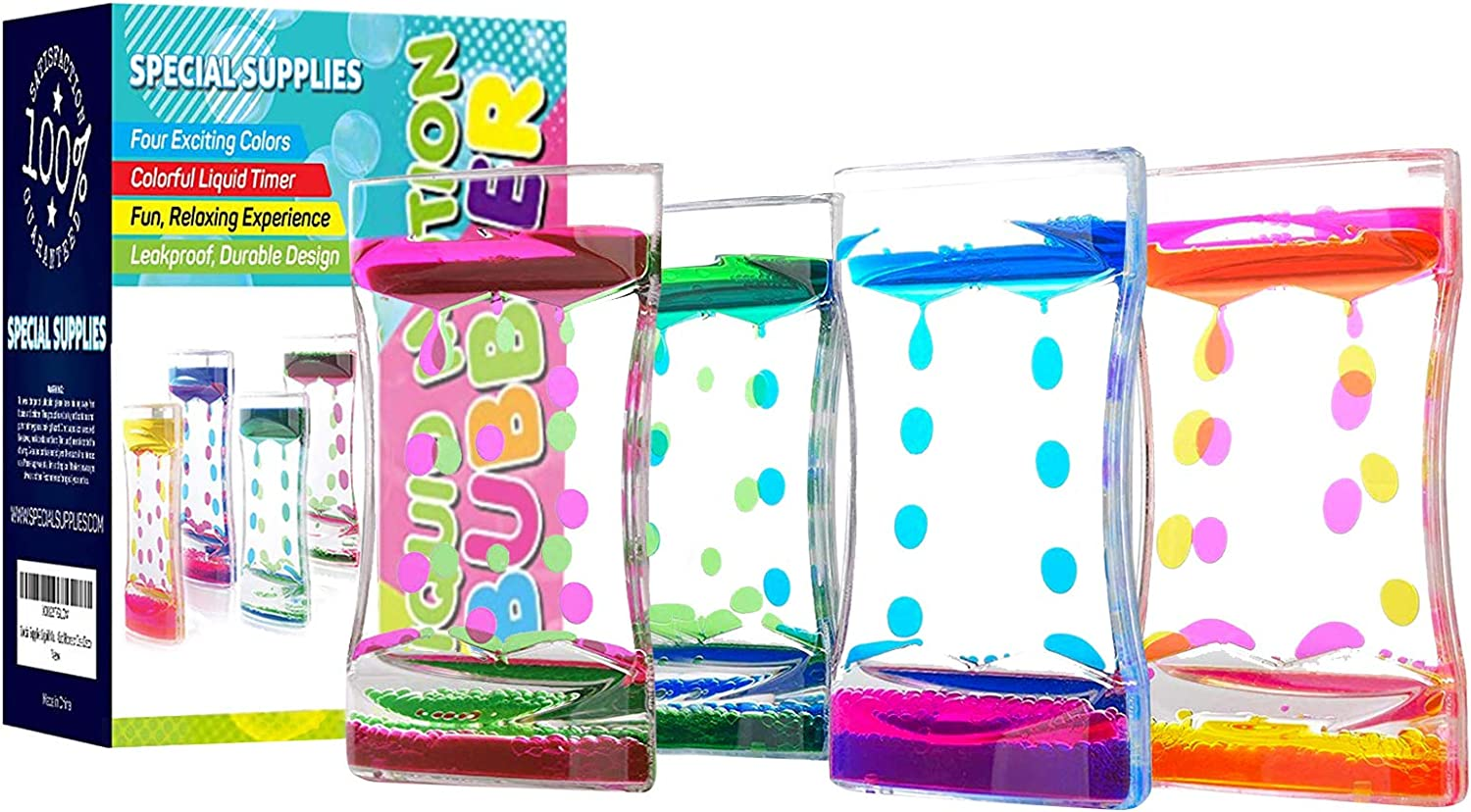 Special Supplies Liquid Motion Bubbler Deluxe Toy (4-Pack) Colorful Hourglass Timer with Droplet Movement, Bedroom, Kitchen, Bathroom Sensory Play, Cool Home or Desk Decor
