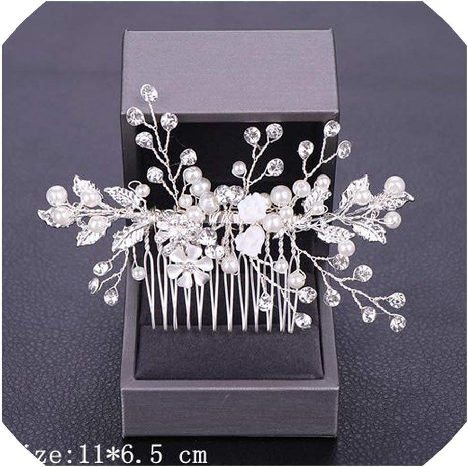 Women Hair Combs Wedding Hair Tiara Pearl Rhinestone Silver Bridal Hair Ornaments Flower Head Jewelry,Silver15