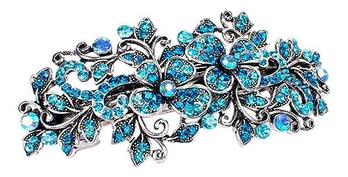 comment commander meilleurs prix images détaillées Fermacapelli strass gioiello capelli Matrimonio Sposa Fiore Capelli Clip  capelli argento turchese 9 cm.