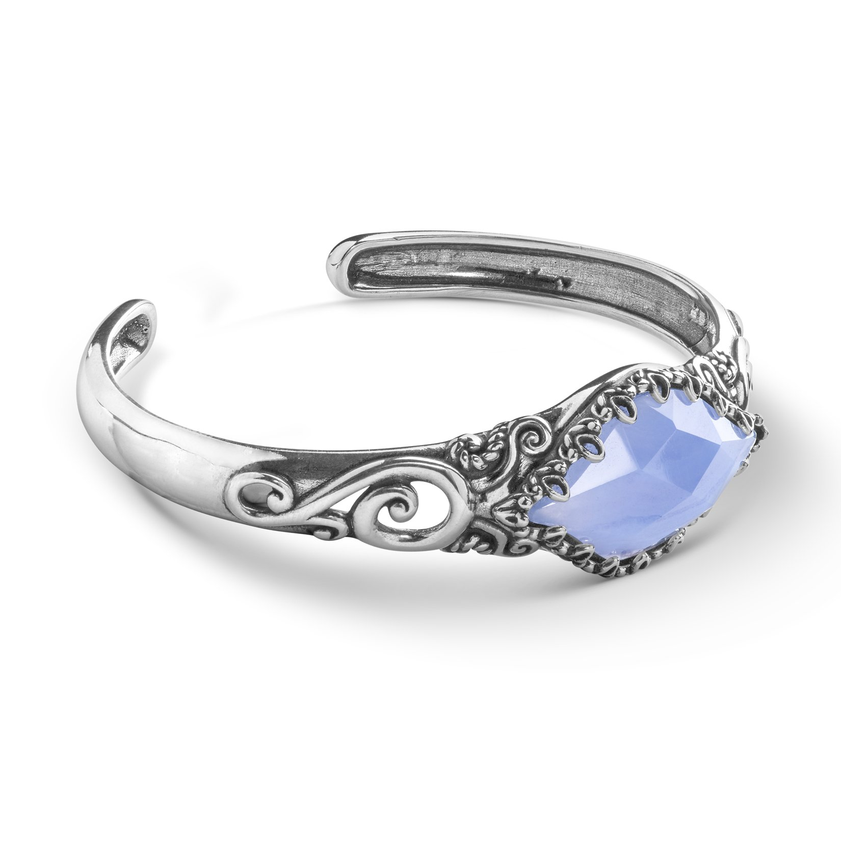 Carolyn Pollack Sterling Silver Blue Lace Agate Gemstone Scroll and Floral Filigree Cuff Bracelet Size Medium
