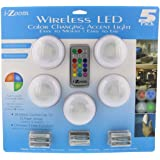i-Zoom Wireless LED Color Changing Push Lights with Remote Control, 5 Pack - Ideal for Holiday, Mood, Accent & Special Event Lighting