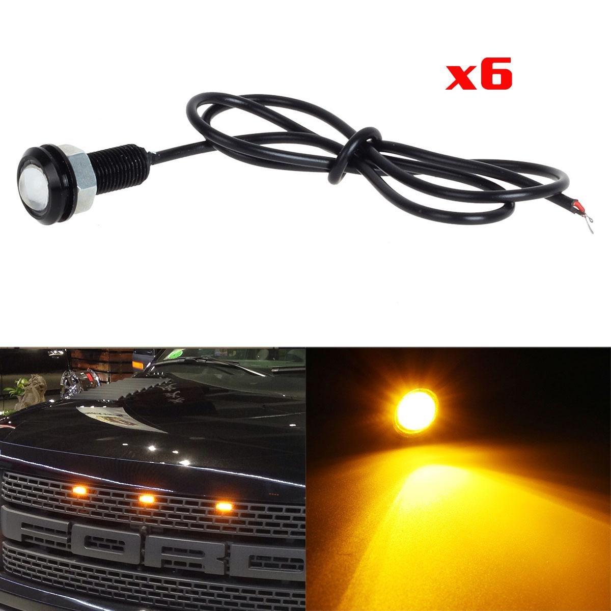Partsam 6X 3000K Amber LED Eagle Eye Lights Front Grille Lighting Kit/License Plate Lights DIY Wiring Lamps (Pack of 6pcs)