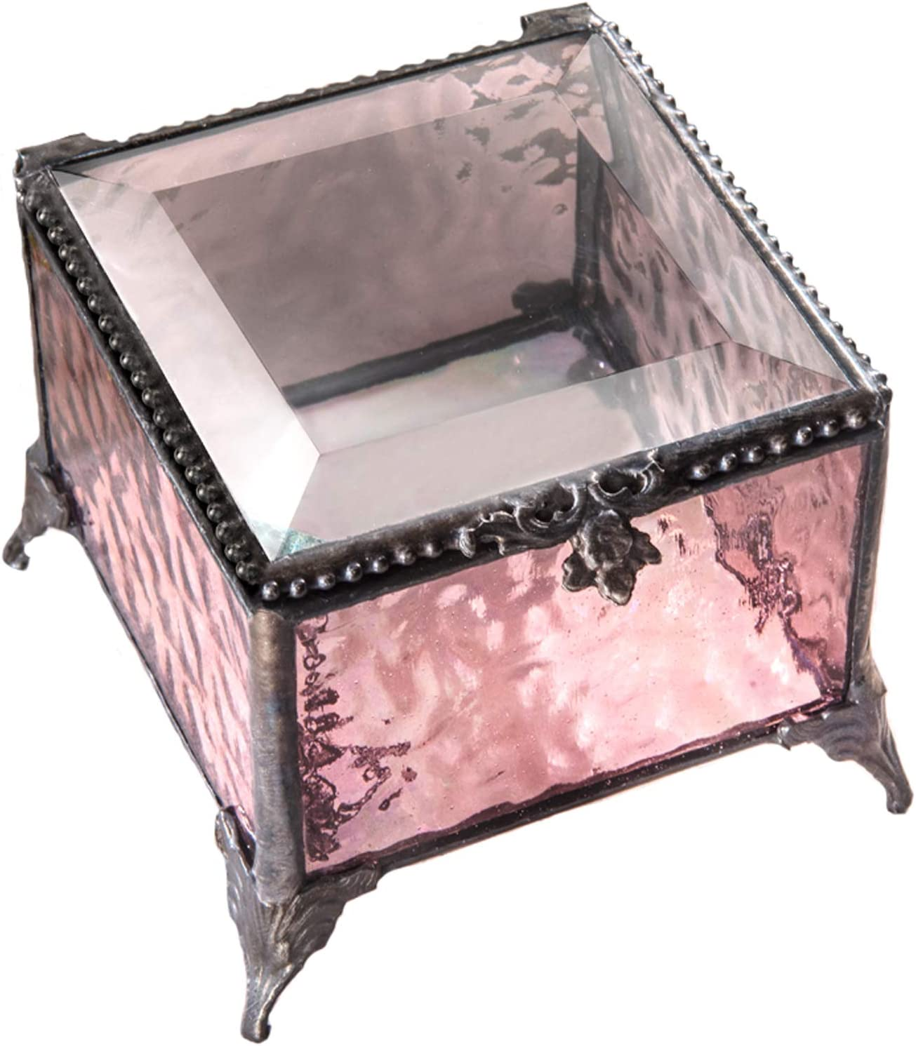 Pink Glass Jewelry Box Decorative Keepsake Storage Organizer Trinket Case Gift for Her J Devlin Box 903