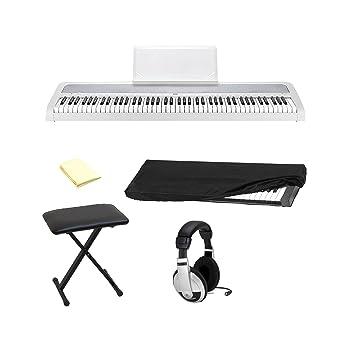 Korg b1wh 88-Key Piano Digital con mejorado sistema de altavoces en color blanco con auriculares estéreo, Protector contra el polvo, banco de teclado y ...