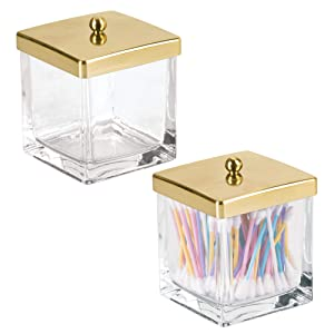 mDesign Modern Glass Square Bathroom Vanity Countertop Storage Organizer Canister Jar for Cotton Swabs, Rounds, Balls, Makeup Sponges, Beauty Blenders, Bath Salts - 2 Pack - Clear/Soft Brass