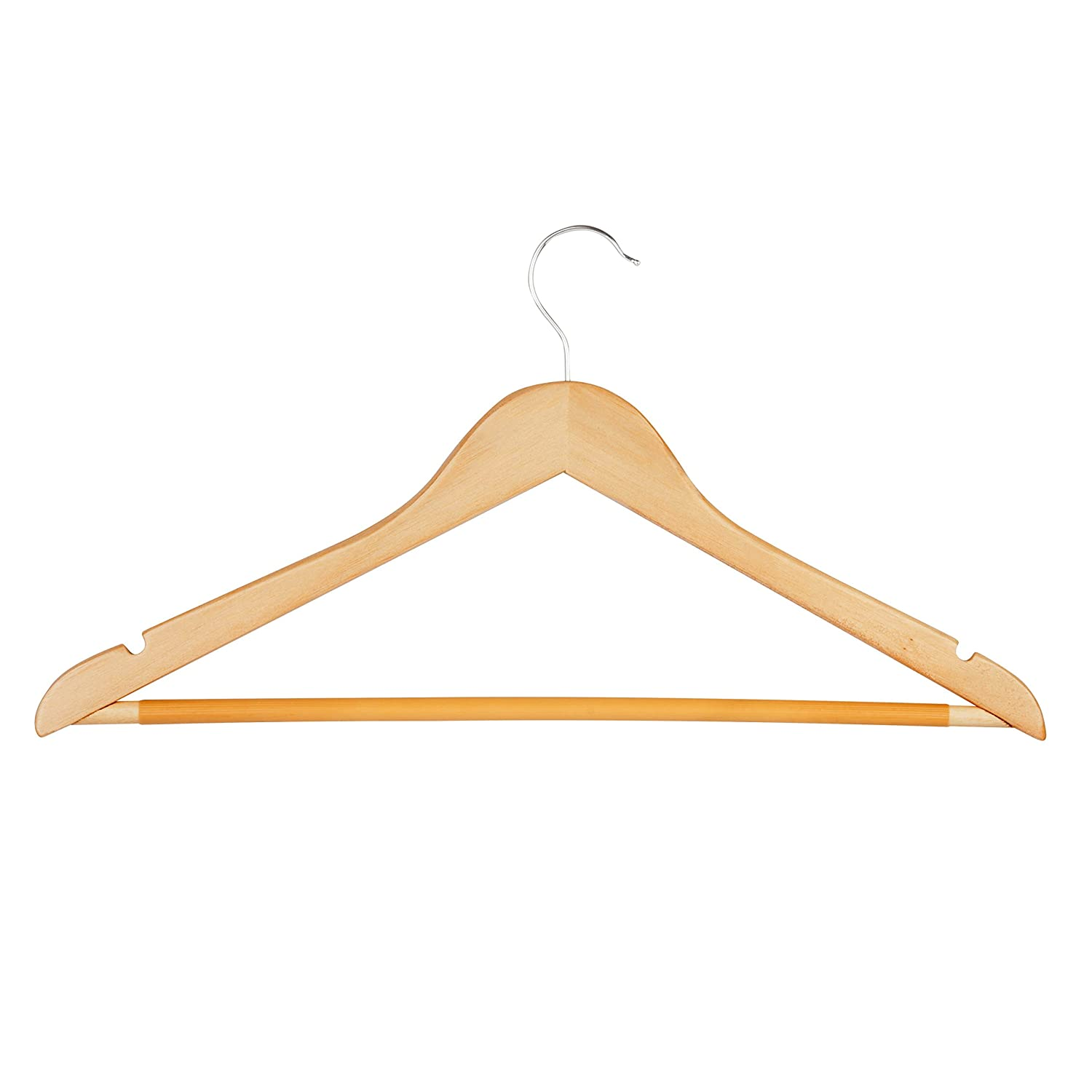 Honey Can Do Hng 01334 Wood Hangers With Non Slip Grooved Bar 24 Pack Maple