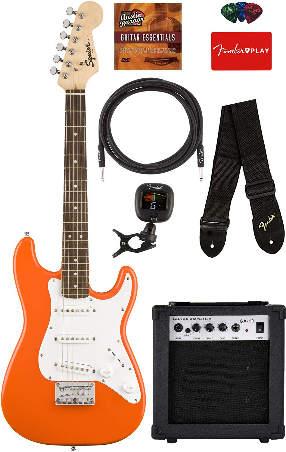 Squier by Fender Mini Strat Electric Guitar - Competition Orange Bundle with Amplifier, Instrument Cable, Tuner, Strap, Picks, Fender Play Online Lessons, and Austin Bazaar Instructional DVD by Austin Bazaar