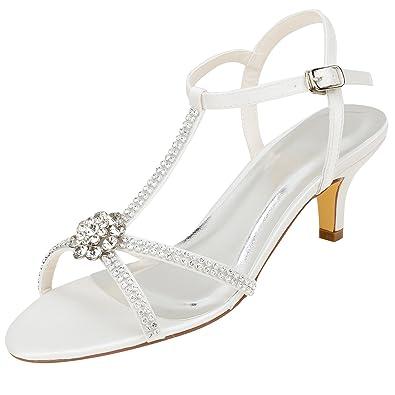 714dafb121767 Emily Bridal Ivory Wedding Shoes Silk Elegant Rhinestones Beaded T Type Kitten  Heel Sandals (EU35