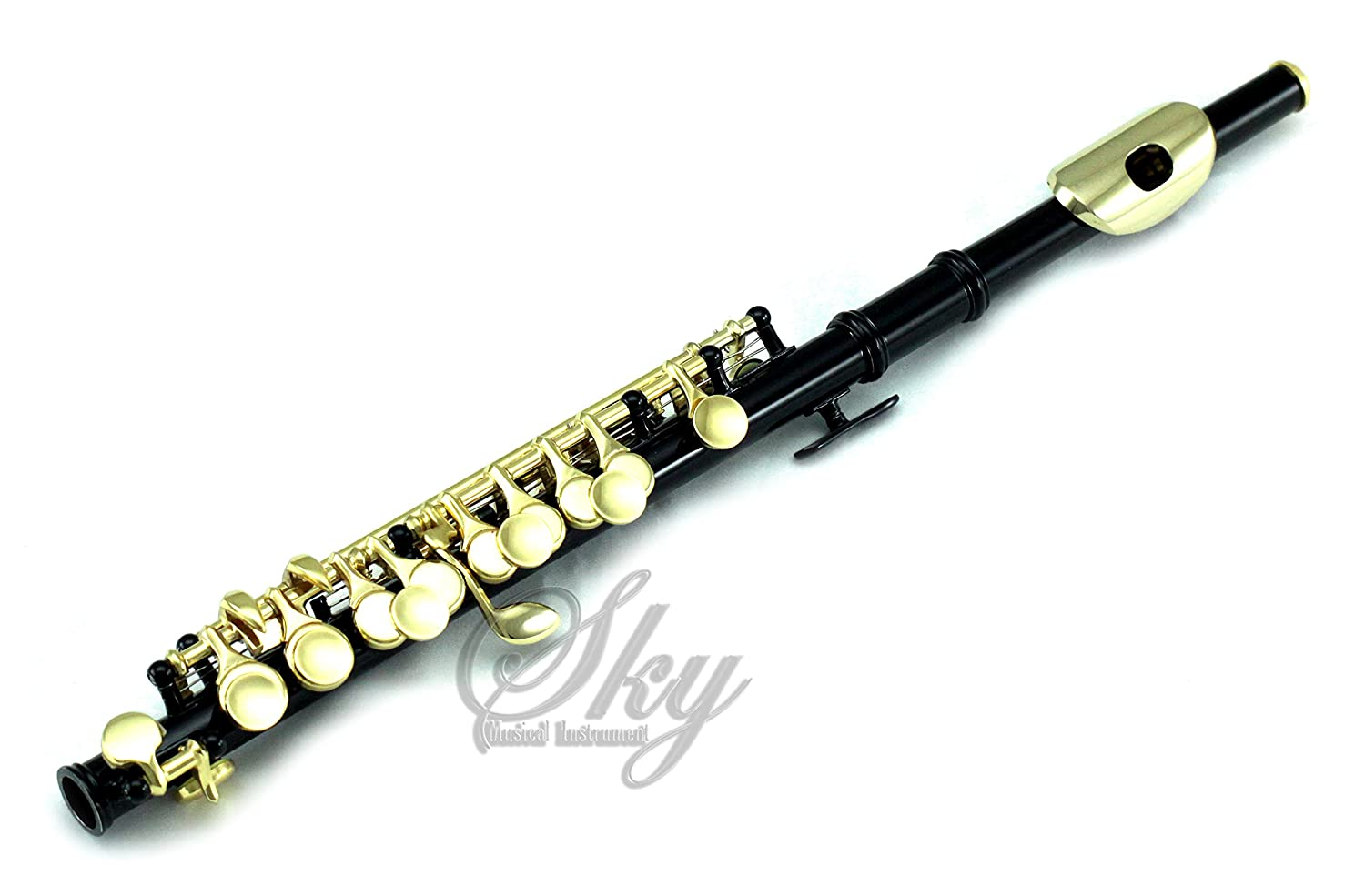 Sky Band Approved Black Laquer with Gold KeysPiccolo Key of C with Hard Case, Cloth, Cleaning Rod, Joint Greasae and Screw Driver, Guarantee Top Quality Sound 762022613285