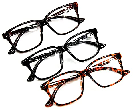 e60f2286cda Bifocal Reading Glasses Fashion Geek Nerd Unisex Stylish Big Frame 3 Colours  Tortoise-Black-Brown +1.0+1.5+2.0+2.5 DX2 (Black