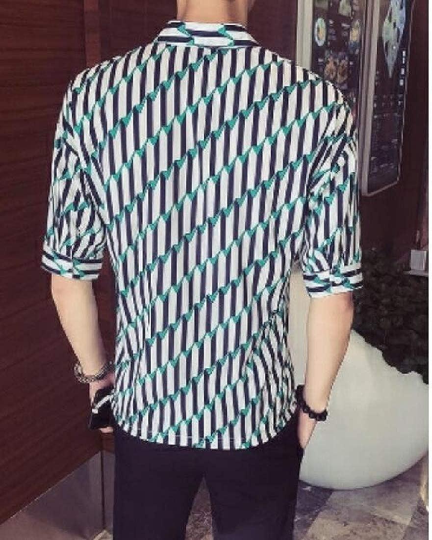 Winwinus Men Premium Floral Striped Point Collar Non-Iron Western Shirt