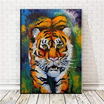 NO FRAME OIL PAINTING MODERN ABSTRACT WALL DECOR ART CANVAS,Tiger 4 color