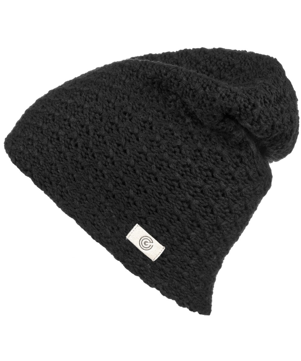 Evony Womens Textured Beanie with Warm Knit Lining- One Size (Black)