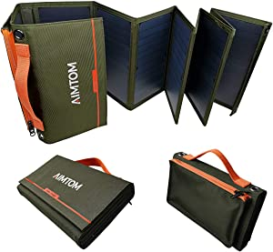 AIMTOM Portable Solar Charger – 60W Foldable Solar Panel with 5V USB and 18V DC for iPhone, Tablet, Laptop, Camera, Cell Phone, GPS and 5-18V Devices – Compatible with Solar Generators Power Stations