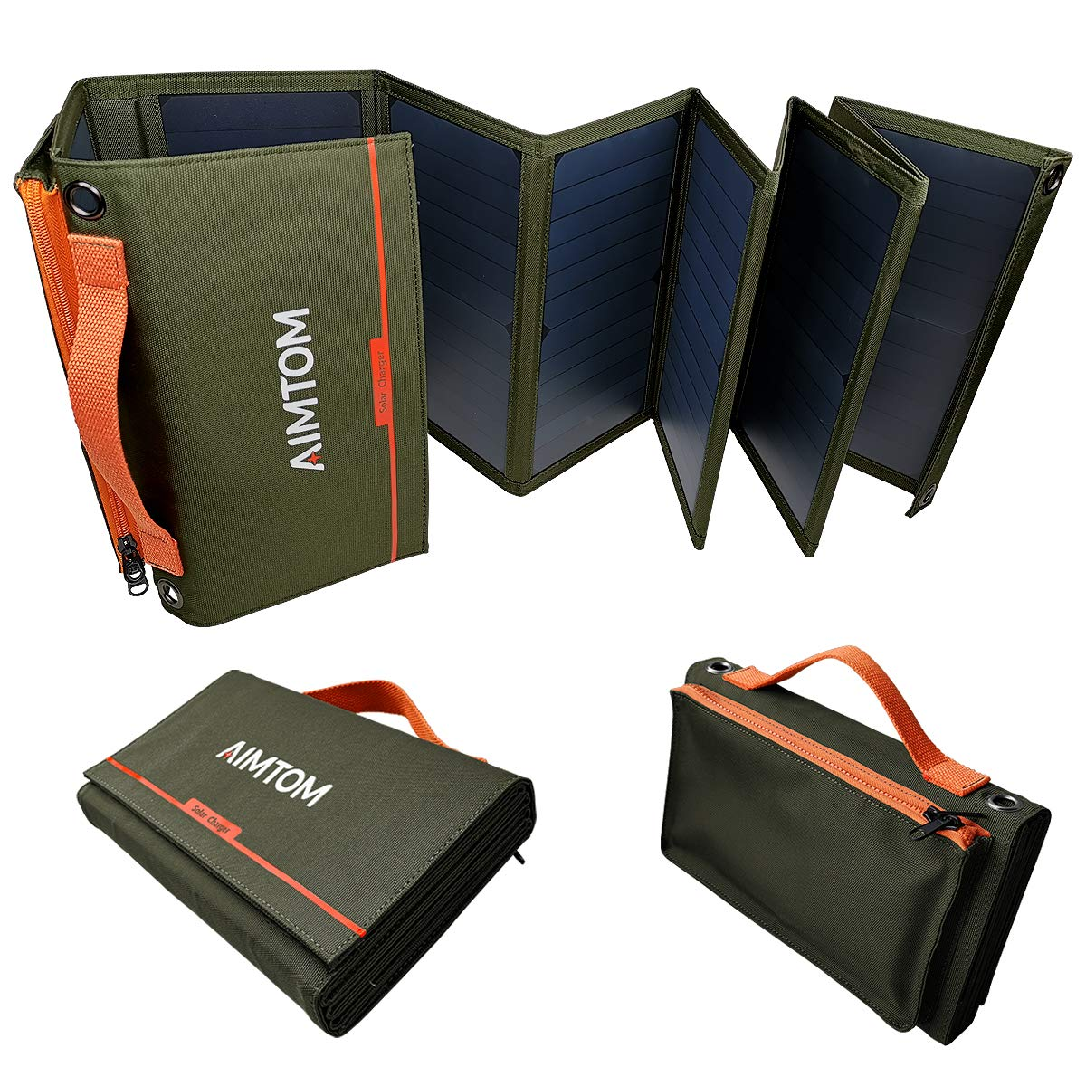 AIMTOM Portable Solar Charger - 60W Foldable Solar Panel with 5V USB and 18V DC for iPhone, Tablet, Laptop, Camera, Cell Phone, GPS and 5-18V Devices - Compatible with Solar Generators Power Stations