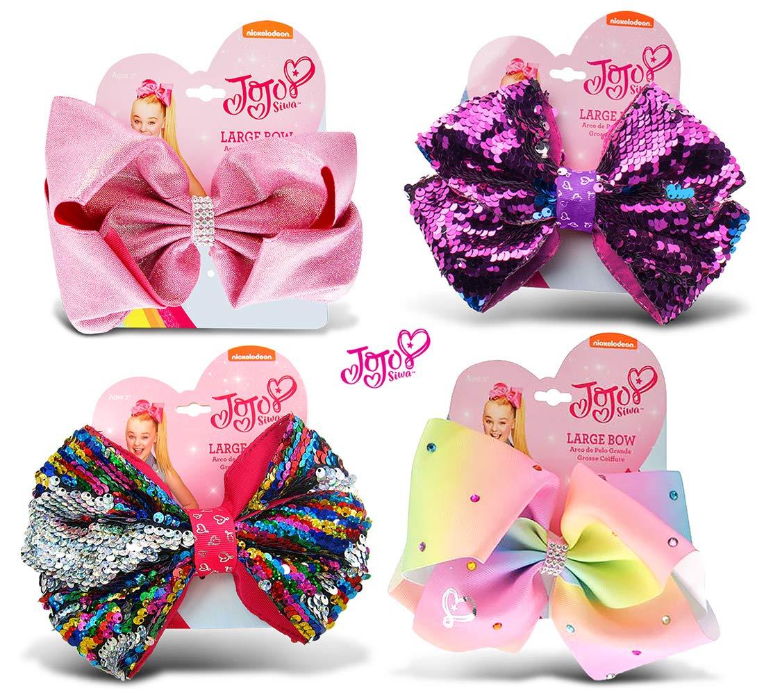 Warp Gadgets Bundle - JoJo Siwa Pink Glitter Ponytail Bow, Purple Sequin Ponytail Bow, Rainbow Sequin Ponytail Bow & Pastel Rainbow Ponytail Bow with Rhinestones On Elastic Hair Band 7''X5'' (4 Items) by Warp Gadgets