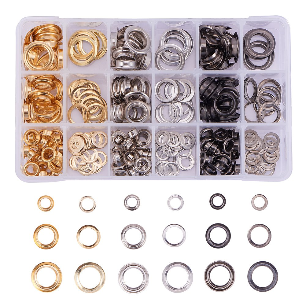 PandaHall Elite 270 Sets Brass Eyelets Ring Rivet Snaps with Installation Tools for Canvas Clothes and DIY Craft, Platinum, 10/15/19x3.5/3.8/4.5mm, Hole: 6/10/12mm PH PandaHall