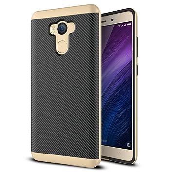 Hongmi 4 Pro Funda, HICASER Carbon Fiber Choque Absorción Protección Silicona Carcasa para Xiaomi Redmi 4 Pro Flexible PC Bumper Frame + TPU Case ...