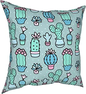 Houtiff Pretty Cacti Cactus Flowers Floor Pillow Pillow Case Fashion Square Pillowcase Decor Throw Pillow Cover 18 X 18 Inch 45 X 45 cm