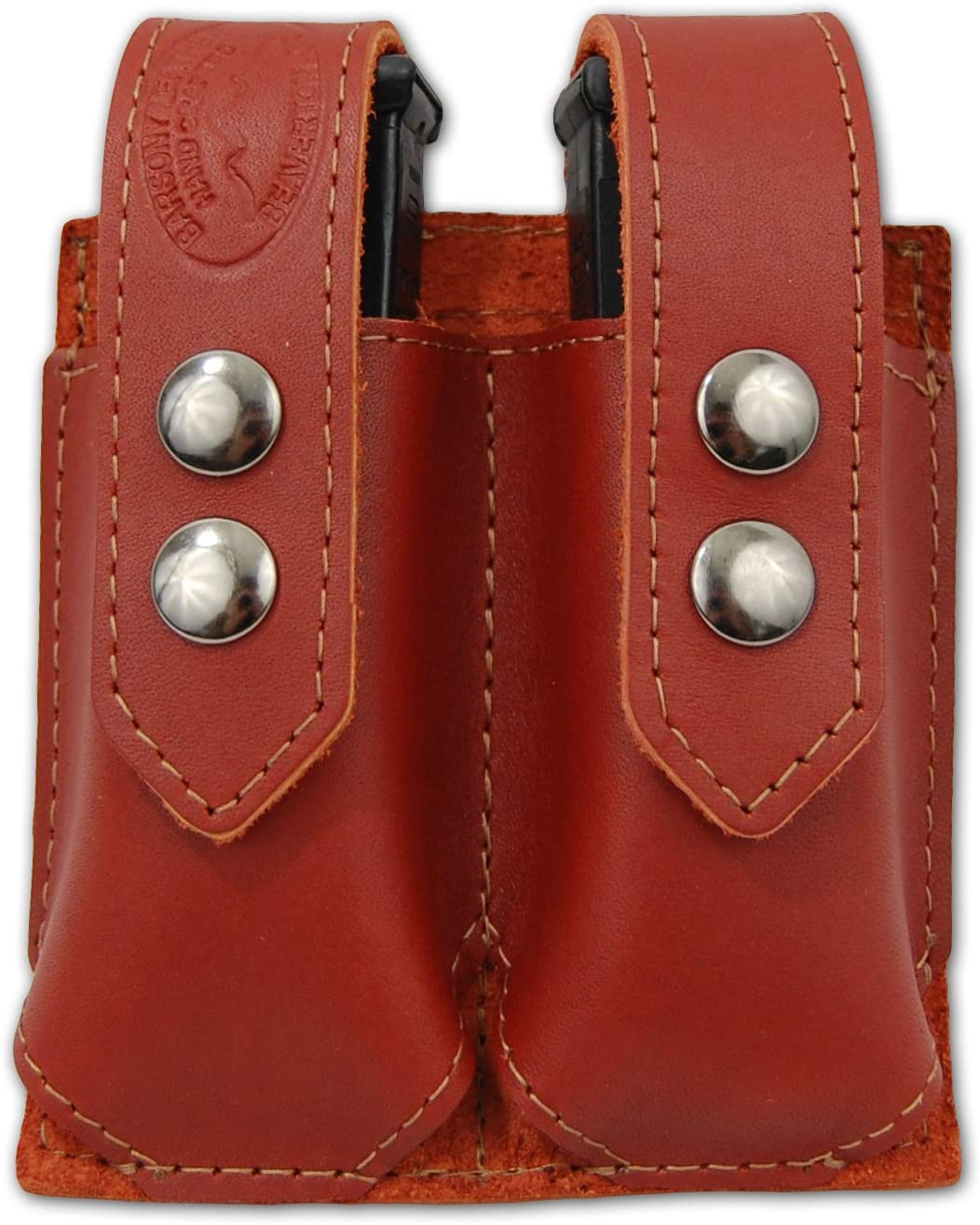 Barsony New Burgundy Leather Double Magazine Pouch for Compact 9mm 40 45
