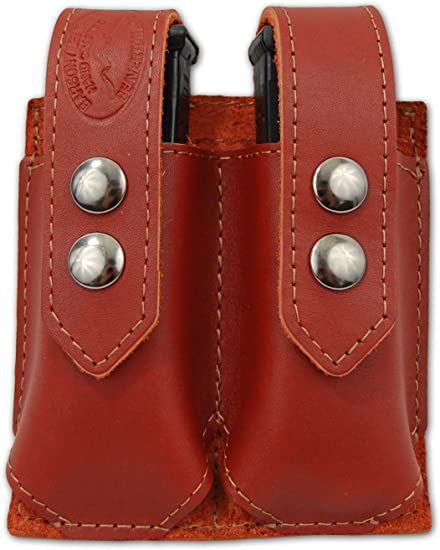 NEW Barsony Brown Leather Double Magazine Pouch Bersa Compact Sub Comp 9mm 40 45