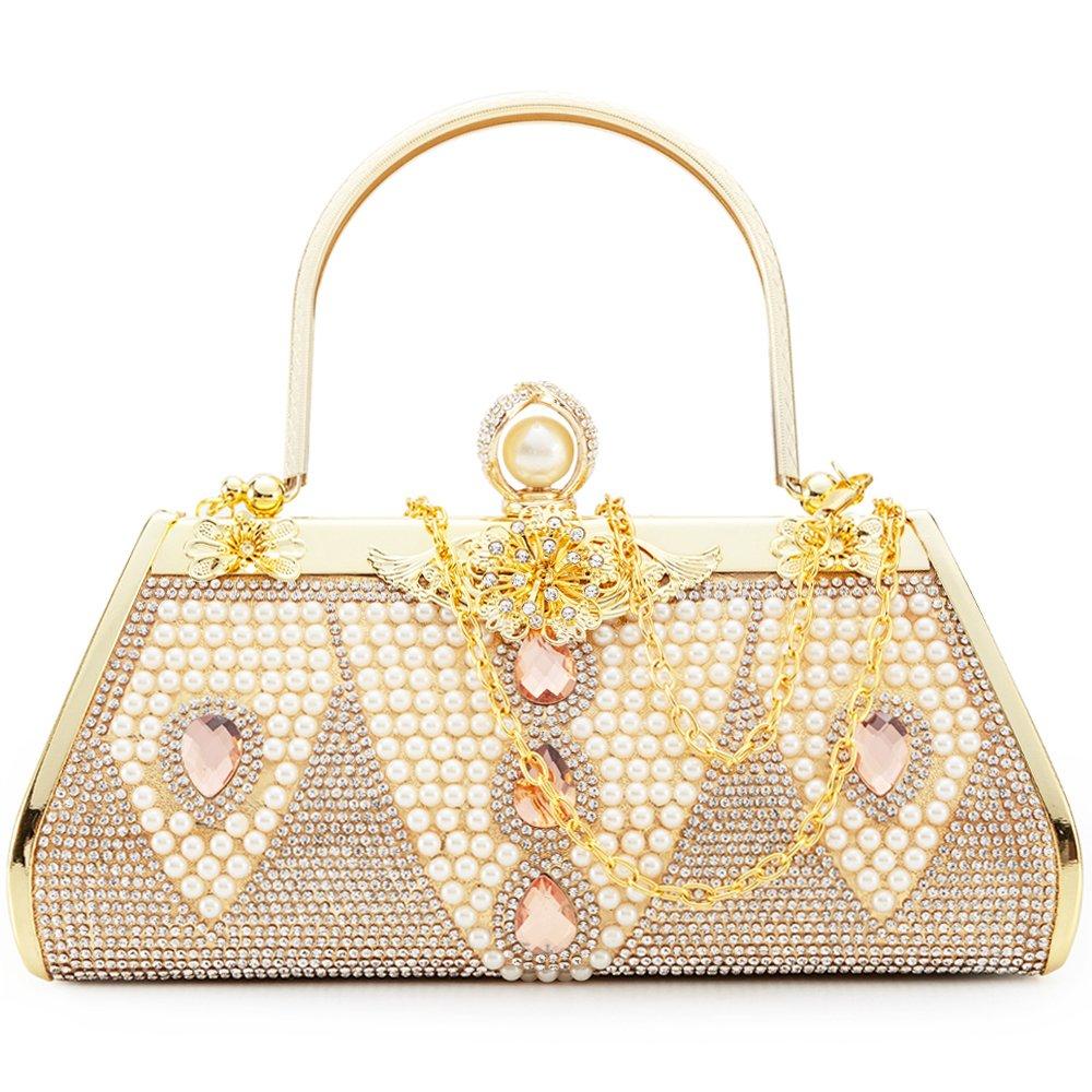 Women Clutch Bag Rhinstone and Artificial Pearls Decorative Sparkling Vintage Classic Evening Shoulder Bag Girls Ladies Gold Elegant Compact Handbag Purse For Weddings Parties Ceremony (Gold 7)