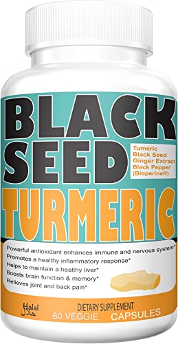 Turmeric Curcumin with 100 Natural Sourced Black Seed Powder 150mg with Bioperine Black Pepper Fruit Extract and Ginger Extract 100mg,95 Standardized Curcuminoids by Sweet Sunnah – 60 Capsules