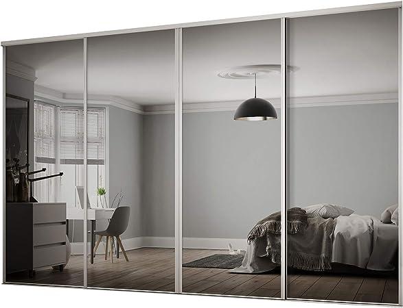 Spaceslide Espejo Puertas correderas con Pistas, Blanco, 230 x 80 x 30 cm: Amazon.es: Hogar