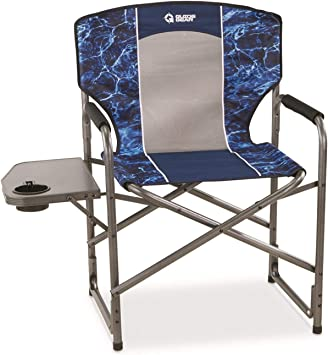Portable Folding Director Chair Lounge Camping 500Lb Heavy Duty With Cup Holder