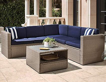 SOLAURA Outdoor 4-Piece Furniture Sectional Sofa Set All Weather Warm Grey  Wicker with Nautical Navy Blue Cushions & Sophisticated Glass Coffee Table  ...