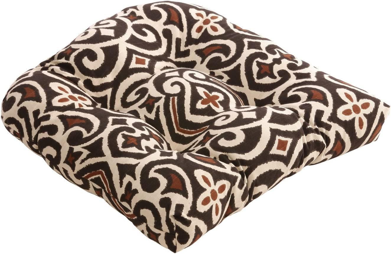 Pillow Perfect Brown Beige Damask Chair Cushion