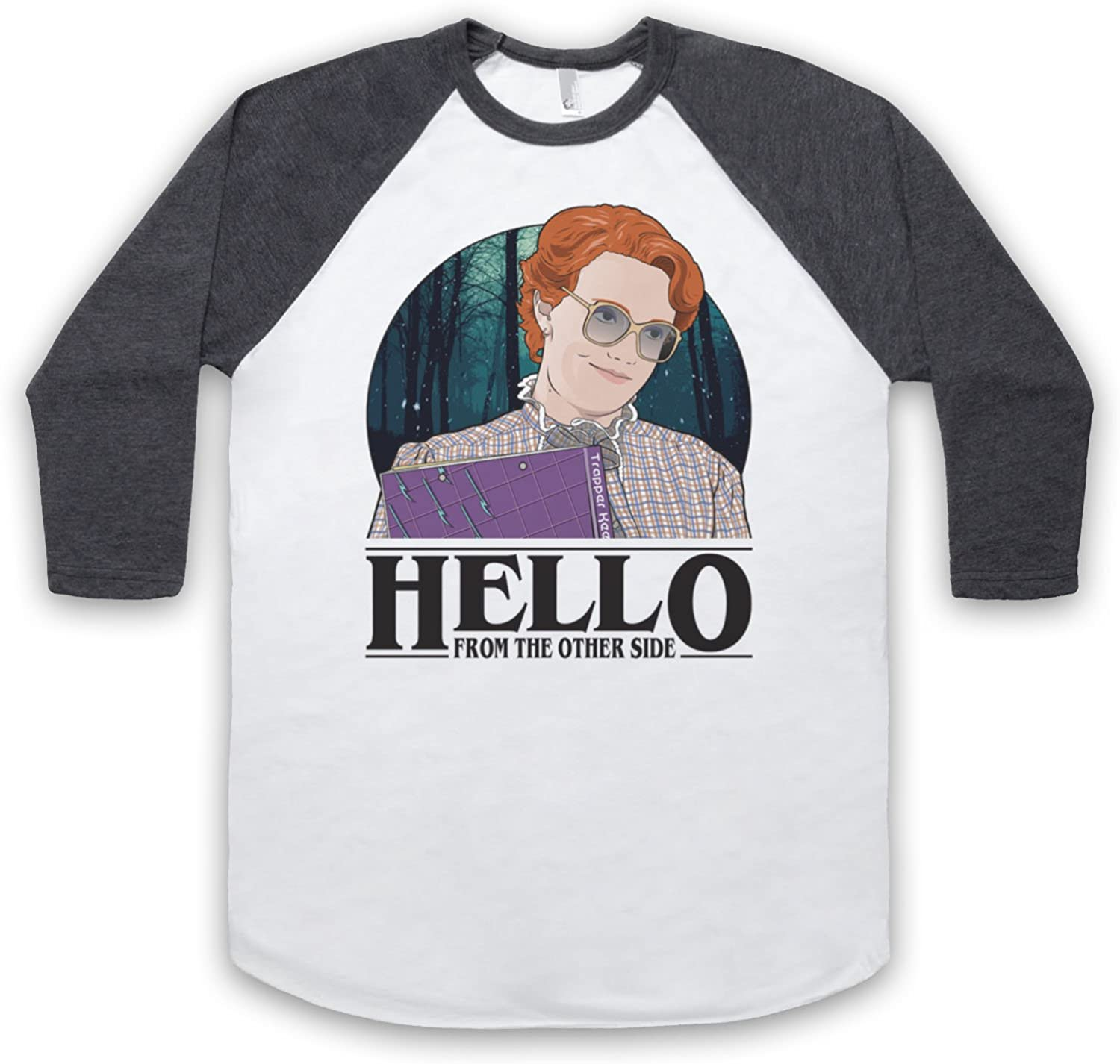 Stranger Things Barb Hello from The Other Side Manga 3/4 Camiseta del Béisbol, Blanco & Gris Oscuro, XL: Amazon.es: Ropa y accesorios
