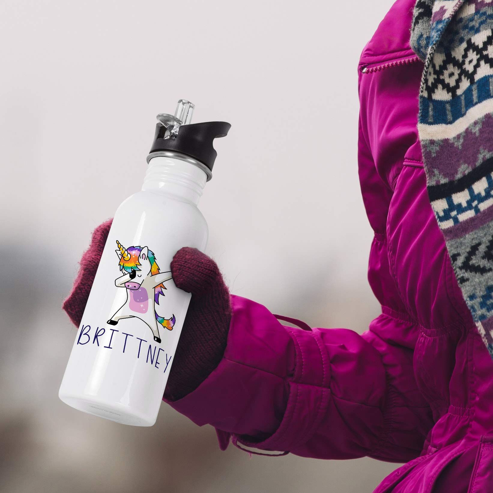 Personalized Gifts Dabbing Unicorn Coffee Mug - 16oz Stainless Steel Sport Water Bottle Tumbler with Lid and Straw -Birthday Gifts, Christmas Gifts, Mother's Day Gifts, Father's Day Gifts by USA Custom Gifts (Image #3)