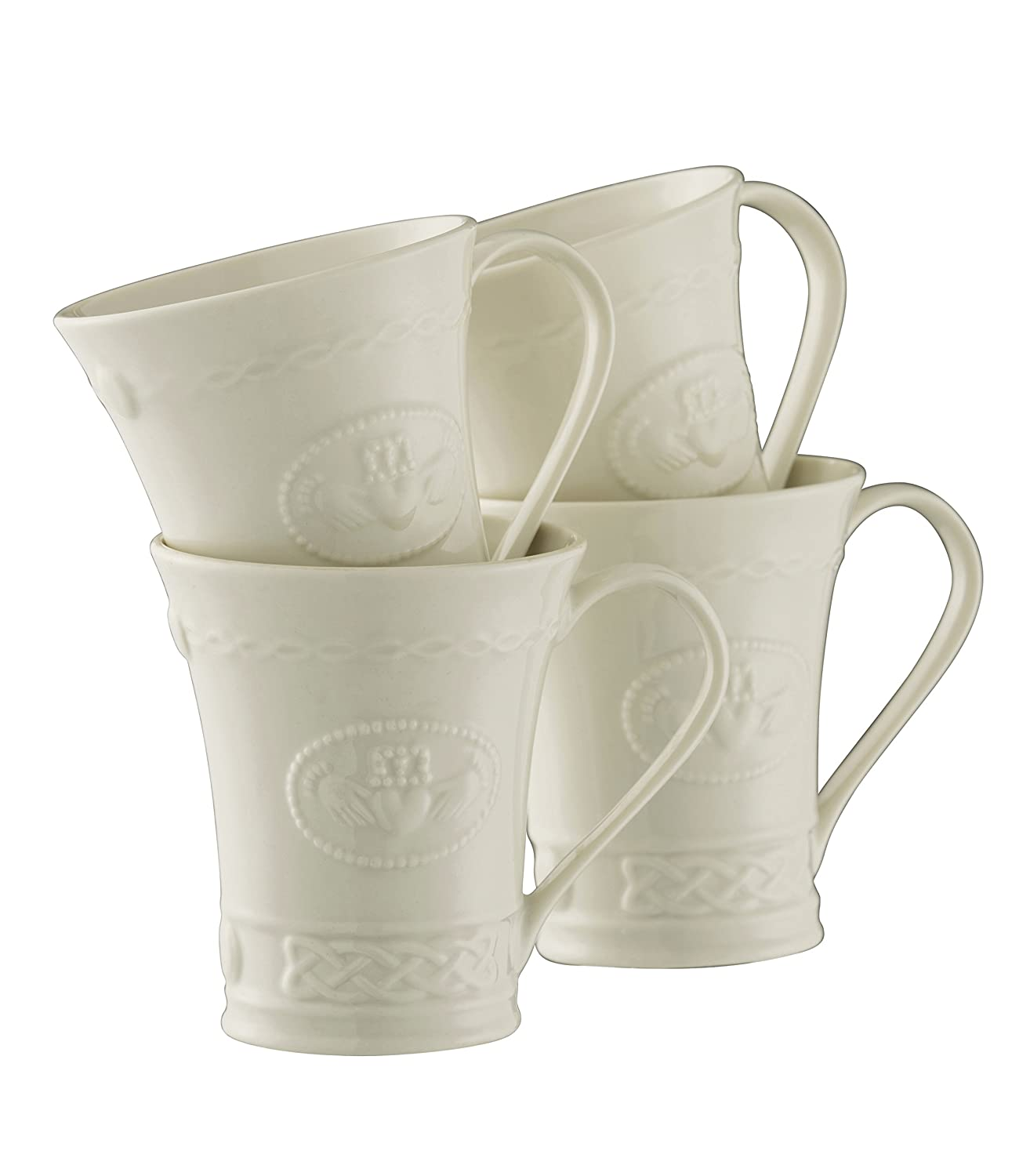 Belleek Pottery Tasses Motif Claddagh Blanc Lot de 4