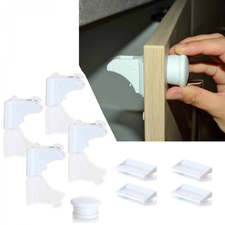 LCP Kids Sicherungsschloss magnetisch für Schubladen, Tür und Schrank Baby Kind Sicherheit 4 Schliessssystem Set