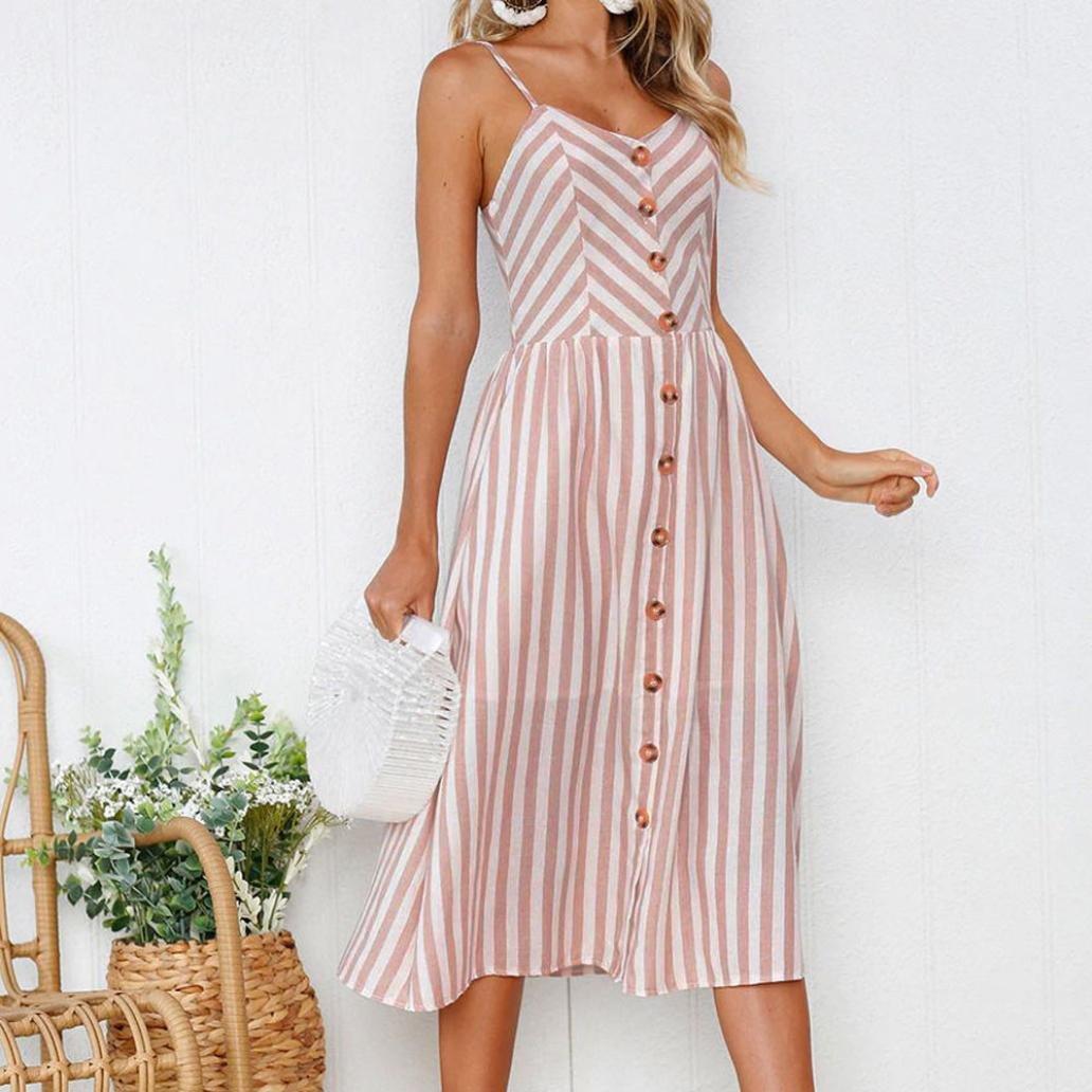 Vestido de verano para mujer - Saihui sexy rosa a rayas estampado Spaghetti correa botones sin mangas casual boho swing playa vintage fiesta Midi-Calf ...