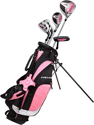 Remarkable Girls Right Handed Pink Junior Golf Club Set for Age 9 to 12 Height 4 4 to 5 Set Includes Driver 15 , Hybrid Wood 25, 7, 9 Iron, Putter, Bonus Stand Bag 2 Headcovers