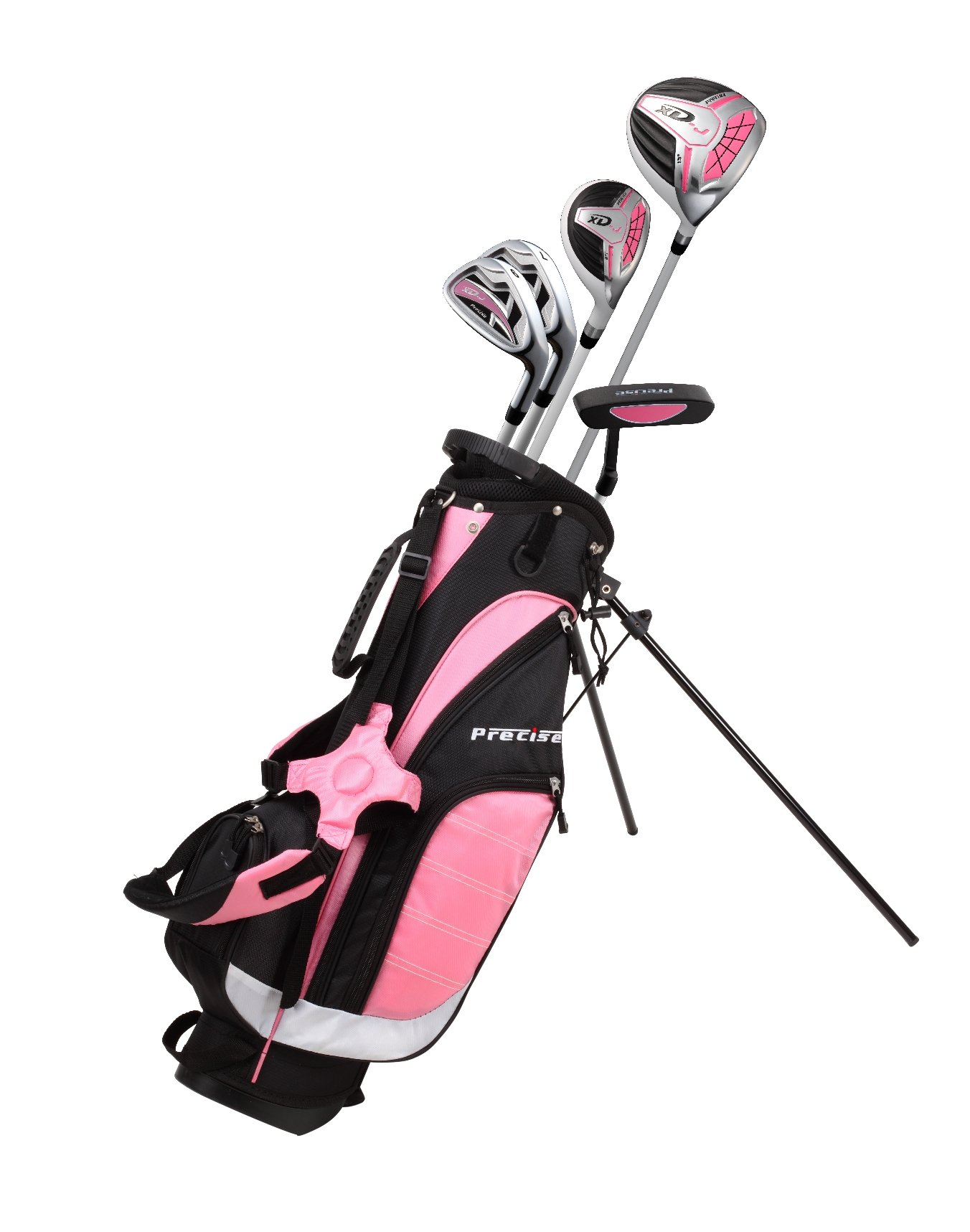 Precise XD-J Junior Complete Golf Club Set for Children Kids - 3 Age Groups Boys & Girls - Right Hand & Left Hand! (Pink Ages 6-8, Left Hand)