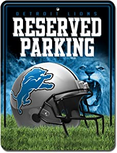 NFL Detroit Lions 8-Inch by 11-Inch Metal Parking Sign Décor