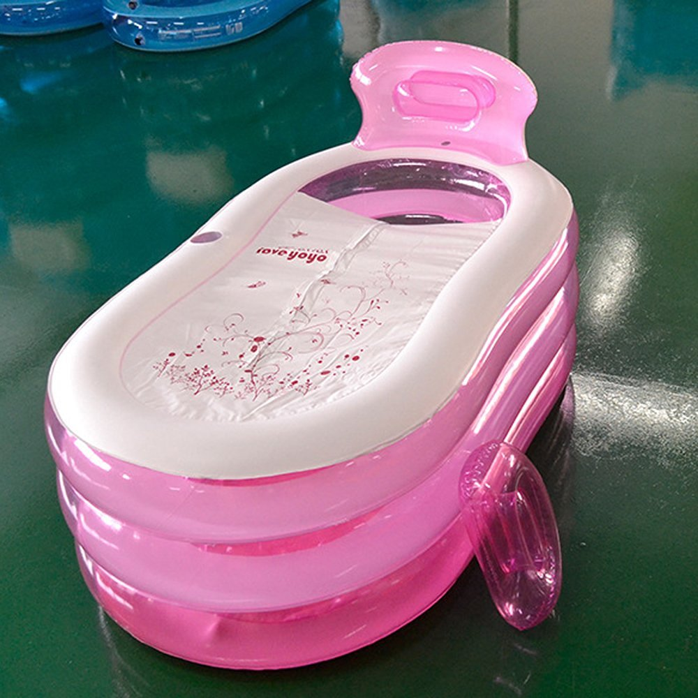 u-Box 50 Gallon Foldable Durable Adult SPA Inflatable Pink Bath Tub Bathtub with Electric Air Pump in Lid Design by u-Box