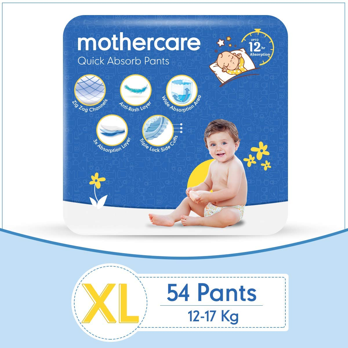 Mothercare Diaper Pants Extra Absorb Extra Large- 54 Pcs, White (MC-DIAPER-XL-P54)