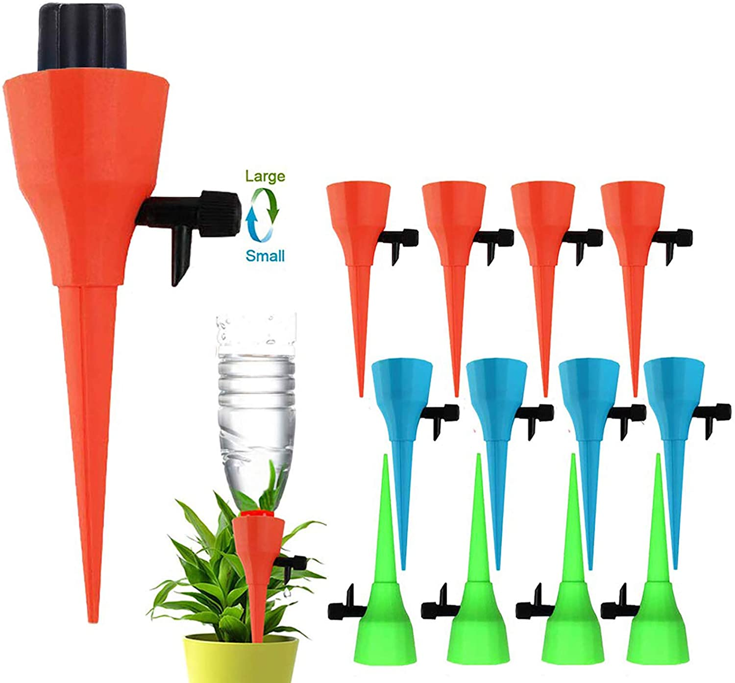 OZMI Plant Self Watering Spikes Devices, 12 Pack Automatic Irrigation Equipment Plant Waterer with Slow Release Control Valve, Adjustable Water Volume Drip System for Home and Vacation Plant Watering