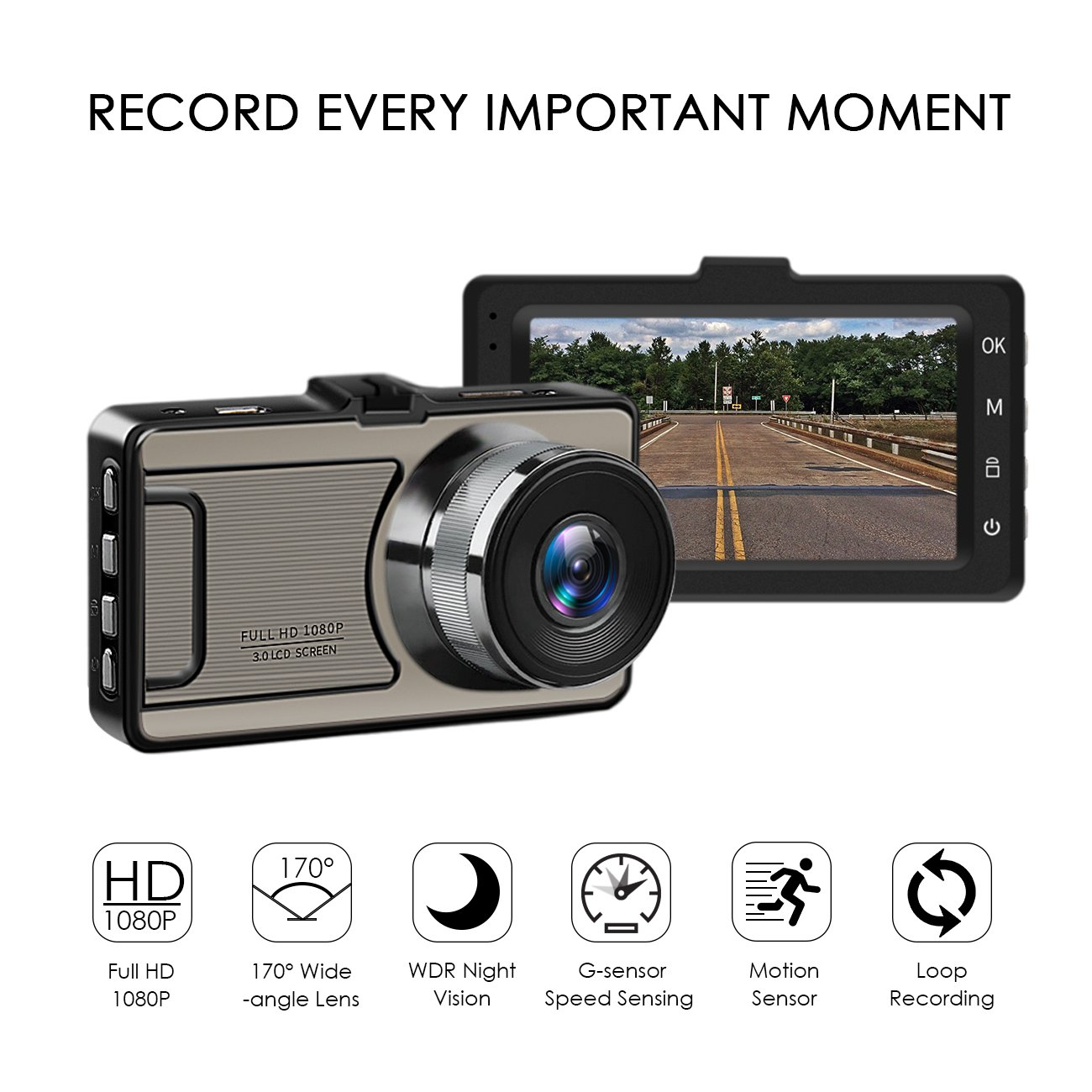 Favoto Dash Cam Full HD 1080P 12 Megapixel Camera 3'' Large LCD Screen 170° Wide Angle Lens Car Camera Recorder with G-Sensor WDR Night Vision Loop Recording Motion Sensor by Favoto (Image #2)